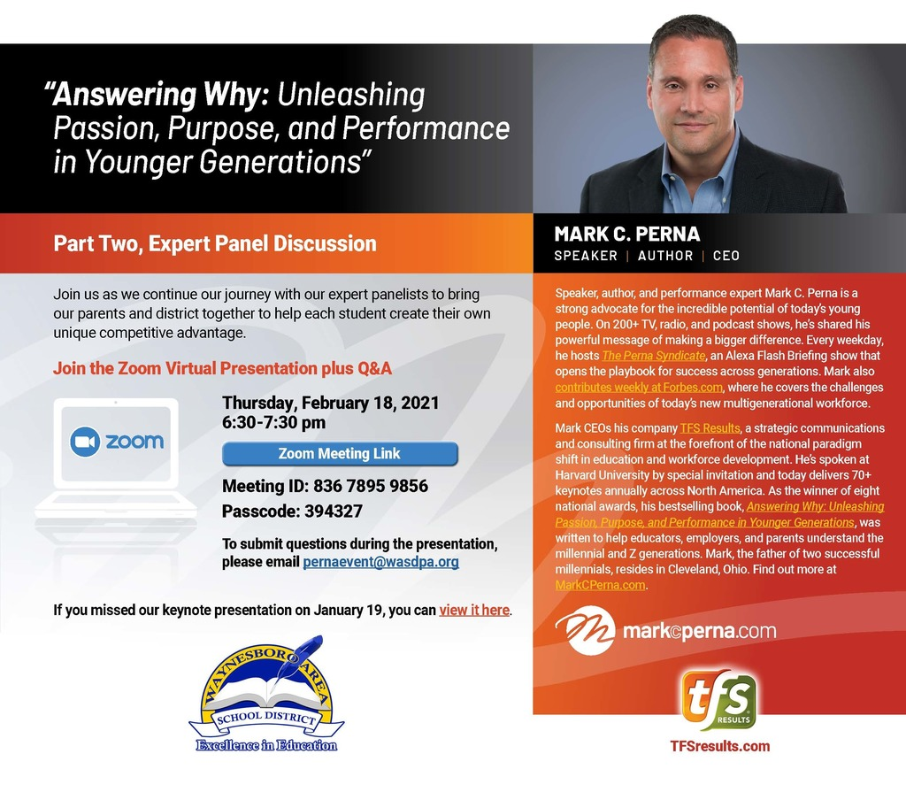 Mark Perna Virtual Presentation Flyer