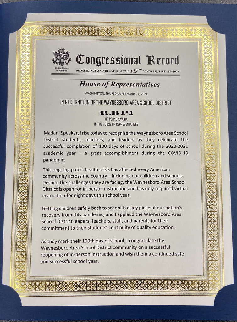 House of Representatives Recognition