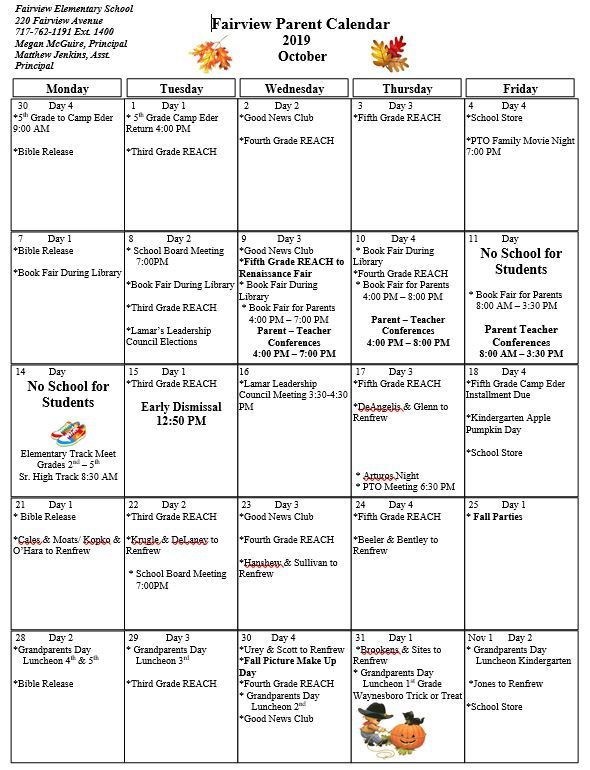 October Parent Calendar